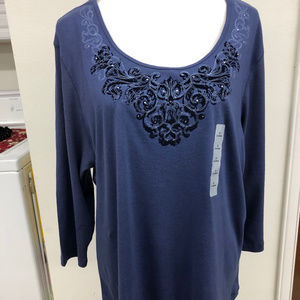 NWt High Sierra quarter length sleeve Blouse